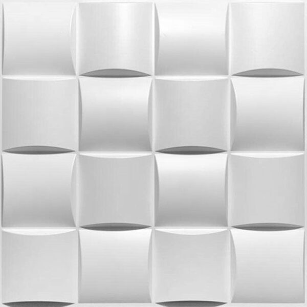 small square design 3d wall panels that protrude. Each tile has 16 squares.