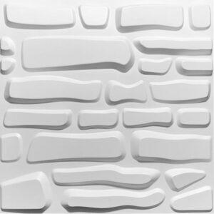 curvy odd shaped brick effect 3d wall panels. Flintstone style effect for each tile. Wipeable, fireproof.