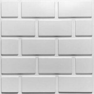 clean brick effect 3d wall tiles. each panel has five lines of bricks