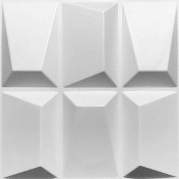 durable 3d wall tiles in PVC white. Paintable with 6 rectangular designs per panel that protrude.
